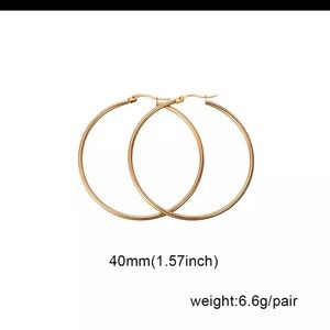 NIB 40mm 14 kt gold plated gold Hoop Earrings